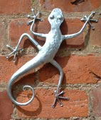 Handforged steel Gecko sculptures wall art by Iron Vein designer makers